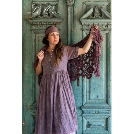 dress AMBRE plum cotton voile with small pink dots