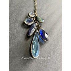 Necklace Crystal Tassel in Blue DKM Jewelry - 1