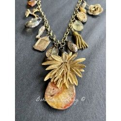 Collier Charm Agate in Gold Flower DKM Jewelry - 1