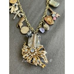 Necklace Rhinestone Charm in Blue Crystal DKM Jewelry - 6