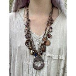 Necklace Large 4-strand charm in Plum Druzy DKM Jewelry - 4