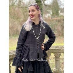 long jacket 66352 Vintage black linen