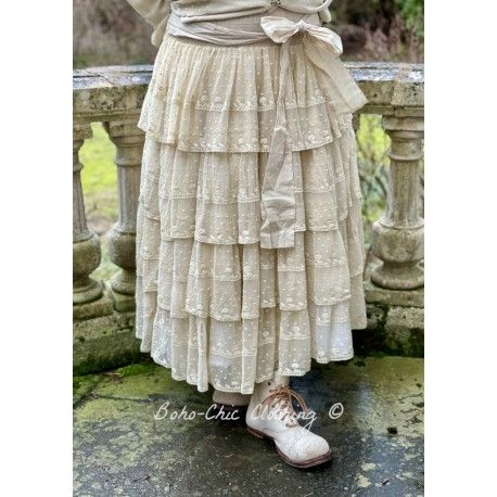 Jupe / jupon 22992 tulle brodé Sable
