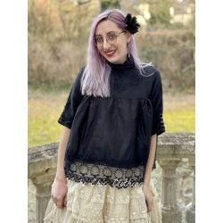 blouse 44782 Vintage black organdie