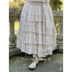 Jupe / jupon 22992 tulle brodé Rose poudre