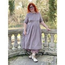 robe AMBRE voile de coton prune à petits pois roses Les Ours - 1
