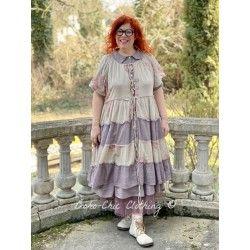 robe / veste FLORETTE voiles de coton fleurs et prune à petits pois roses