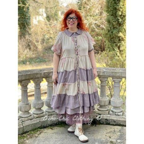 robe / veste FLORETTE voiles de coton fleurs et prune à petits pois roses Les Ours - 1