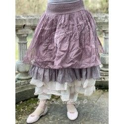 skirt / petticoat LOUISON plum organza and plum cotton voile with small pink dots