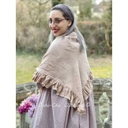 triangle scarf MALOE pink linen Les Ours - 1