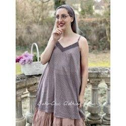 robe LEA voile de coton prune à petits pois roses