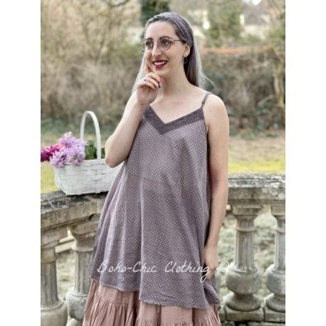 dress LEA plum cotton voile with small pink dots Les Ours - 1