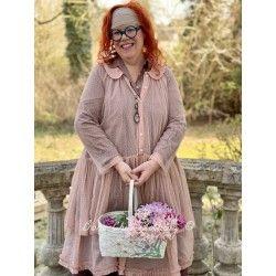 chemise longue MARIE tulle de coton rose à pois Les Ours - 1