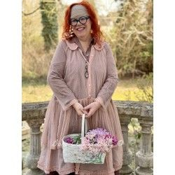 long shirt MARIE pink cotton tulle with dots