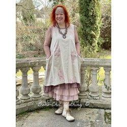 robe ZELIE popeline de coton fleurs et organza prune