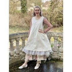 dress ZELIE ecru cotton poplin and ecru organza Les Ours - 1