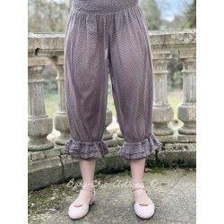 panty / pantalon ROBERT voile de coton prune à petits pois roses Les Ours - 1