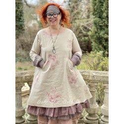 robe ANNIE popeline de coton fleurs et organza prune
