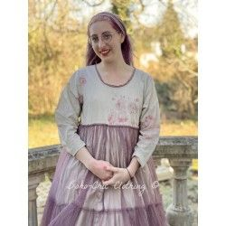 dress MATHILDA floral cotton and plum cotton tulle with dots Les Ours - 1