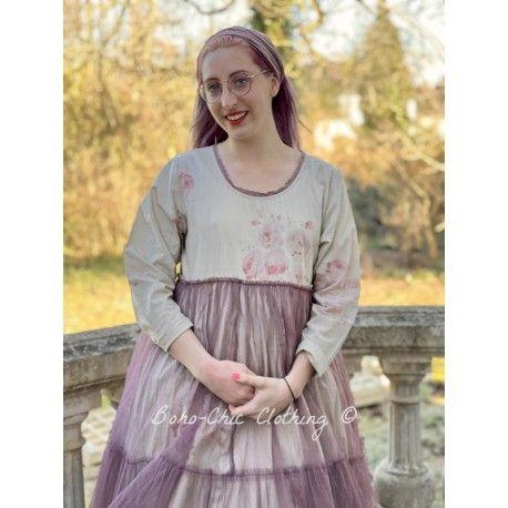 robe MATHILDA coton fleurs avec tulle de coton prune à pois Les Ours - 1