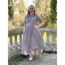 robe AMBRE voile de coton prune à petits pois roses