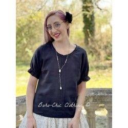 T-shirt 44778 Vintage black linen