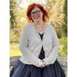 cardigan 44785 Cream cotton knit