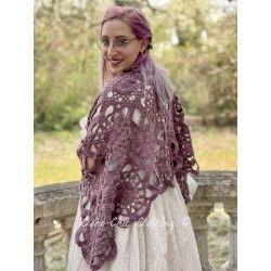 shawl ERMANCE plum cotton Les Ours - 1