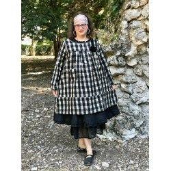 robe tunique ALAE coton et lin à carreaux noir et écru Les Ours - 1