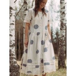 dress 55710 Cream shirt cotton with big dots