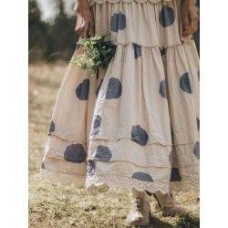 skirt / petticoat 22110 Cream shirt cotton with big dots