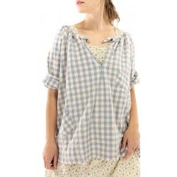 shirt Checked Top in Faded Cottage