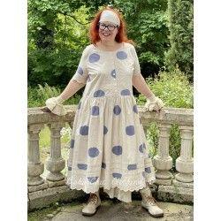 dress 55710 Cream shirt cotton with big dots Ewa i Walla - 9