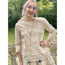 blouse 44789 Cream shirt cotton Ewa i Walla - 1