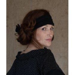 headband CELESTE black striped cotton voile Les Ours - 1