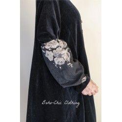 manchettes BLANDINE voile de coton noir à fleurs Les Ours - 1