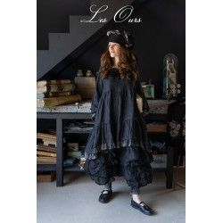 dress LIBERTINE black linen and flounce in checked cotton voile Les Ours - 1