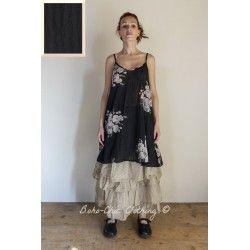 dress LEA black striped cotton voile Les Ours - 1