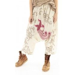 pantalon Dragon Embroidered Garcon in Moonlight Magnolia Pearl - 1