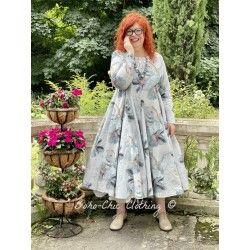 robe 55713 coton Gris à fleurs