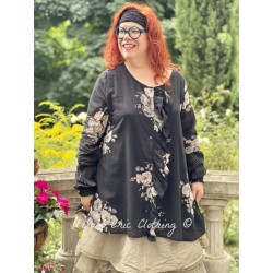 tunic CAMELIA black cotton voile with flowers Les Ours - 1