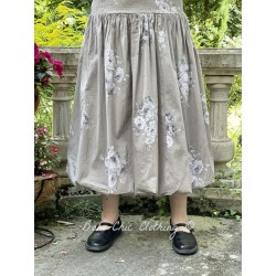 skirt / petticoat LINA taupe poplin with flowers Les Ours - 1