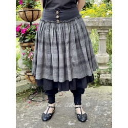 skirt ANEMONE black poplin and ruffle in checked cotton voile Les Ours - 1