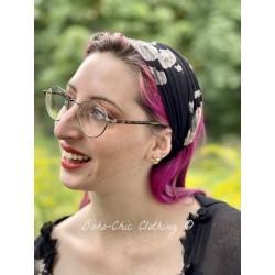 bandeau CELESTE voile de coton noir à fleurs Les Ours - 1