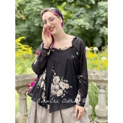 top JACINTHE black cotton voile with flowers Les Ours - 1