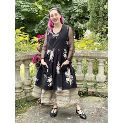 dress JULIA black poplin with flowers Les Ours - 1