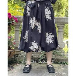 skirt / petticoat LINA black poplin with flowers Les Ours - 1
