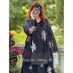 tunic BLANDINE black cotton voile with flowers and small white dots Les Ours - 1