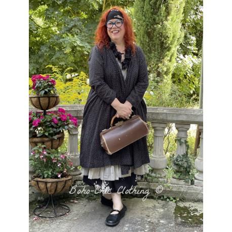 veste longue CAPUCINE voile de coton noir à petits pois blancs Les Ours - 1