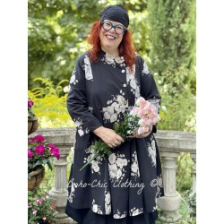 coat LUCIENNE black poplin with flowers Les Ours - 1